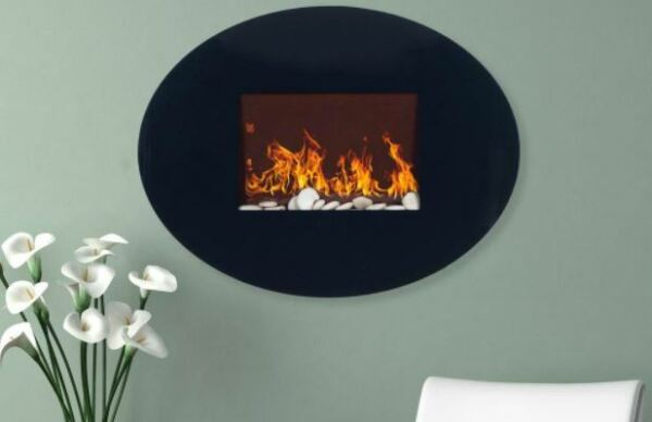Northwest 34 in. Wall Mount Oval Glass Electric Fireplace in Black