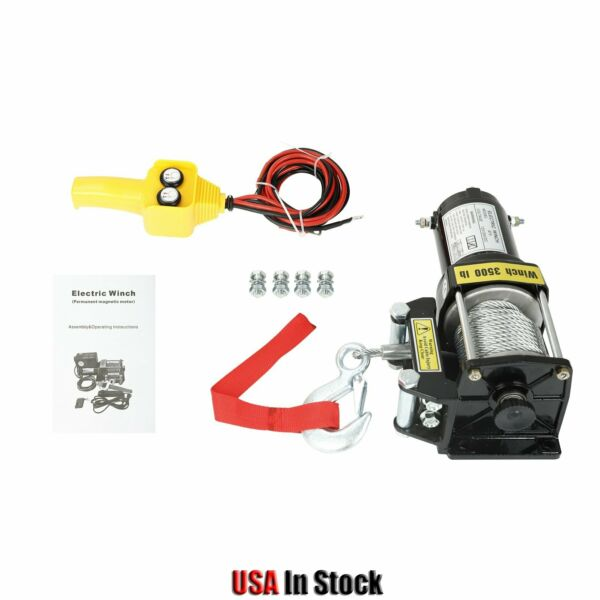 1Pcs Electric Winch 3500LBS Trailer Steel Cable Off Road For Truck Pickup SUV $79.50