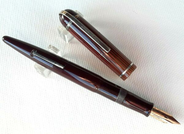 Antique Eversharp Skyline Burgundy Fountain Pen w Celluloid Cap USA #AR4710