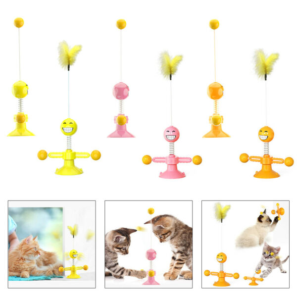 Funny Windmill Cat Toy Playing Spring Feather Ball Scratcher Pet Accessories $10.75