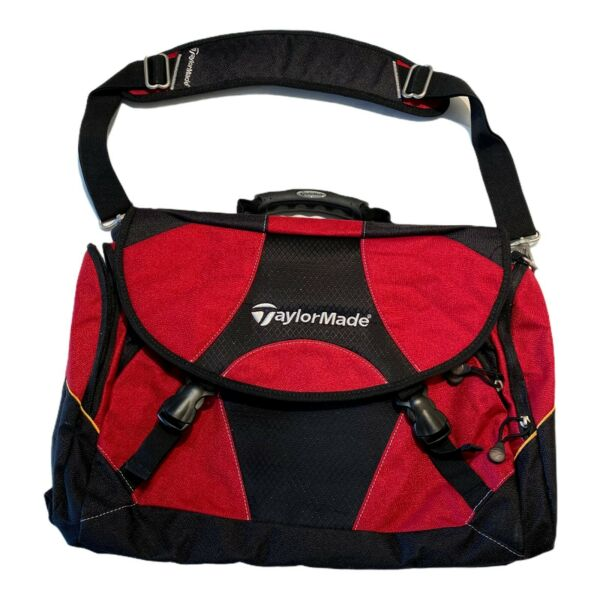 Taylormade Golf Tmax Gear Side Laptop Messenger Bag Red Embroidered Buckle RARE $29.74