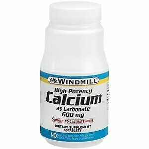 Windmill Calcium Carbonate 600MG 60 Tablets $8.44