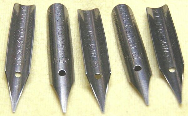 VINTAGE NEW SET OF 5 ESTERBROOK PEN NIBS NO. 460 MANIFOLD