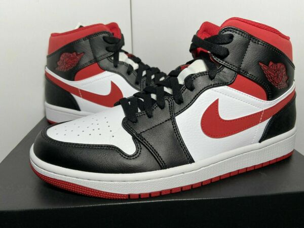 Nike Jordan 1 Mid Gym Red Black White 554724 122 Men#x27;s Size 10.5