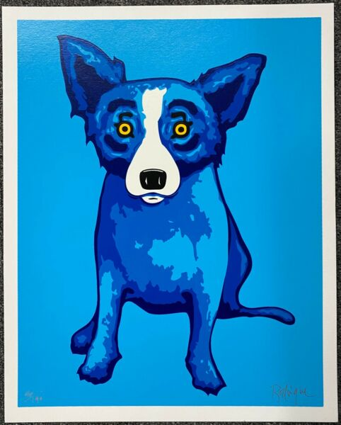 George Rodrigue Blue DOG BLUE Skies ARE Shining on Me 2005 Hand Signd Silkscreen $1950.00