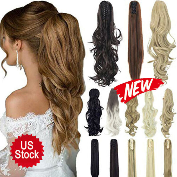 Long Wavy Curly Straight Thick Synthetic Clip In Hair Extension Ponytail Claw US