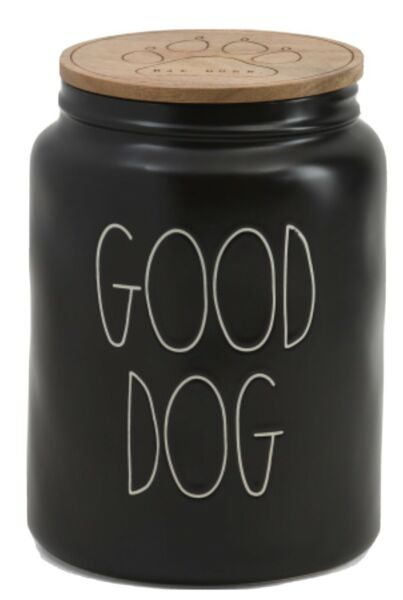 Rae Dunn quot;GOOD DOGquot; Large Black Treat Canister Wood Lid Engraved Paw Print NEW $35.00
