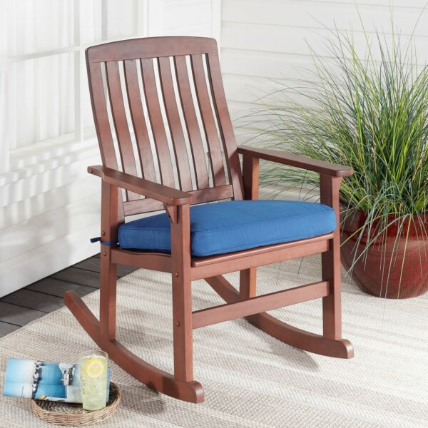 Better Homes amp; Gardens Delahey Cushioned Outdoor Wood Rocking Chair $68.95
