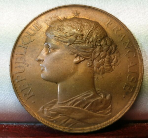 French 41mm vintage marianne medal bronze by A Bertrand geography