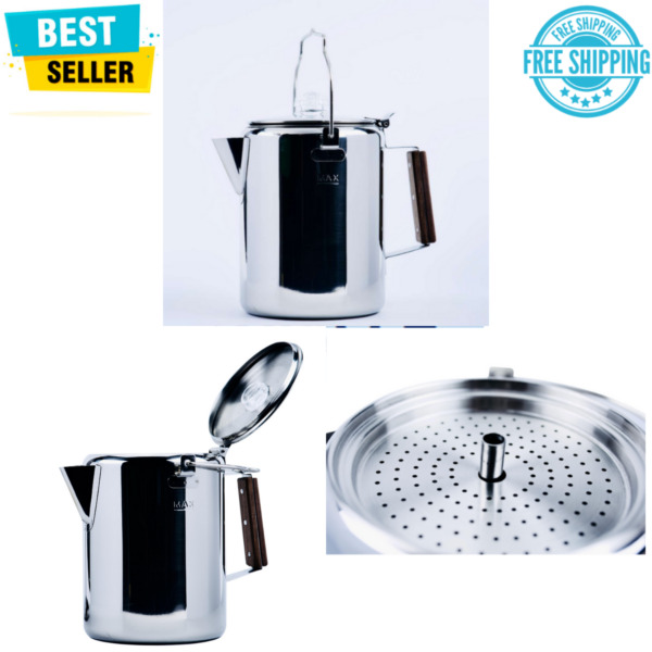 12 Cup Percolator Coffee Pot Stainless Steel Tea Drink Flip Open Top Silver Camp