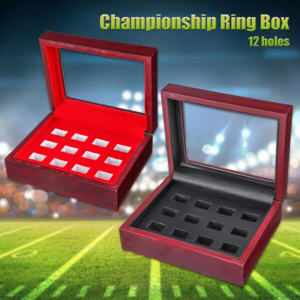 12 Holes Multicolor Championship Ring Wooden Box Collection Storage Display Case