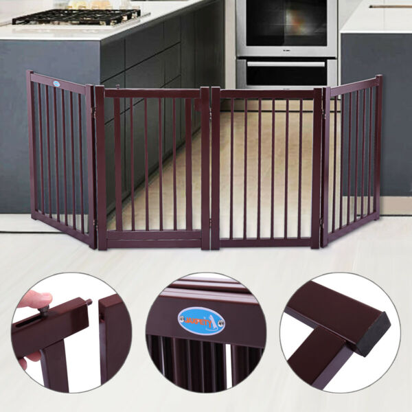 30quot; Folding Pet Dog Safety Gate Free Standing 4 Panel Wooden Safety Fence w Door $60.99