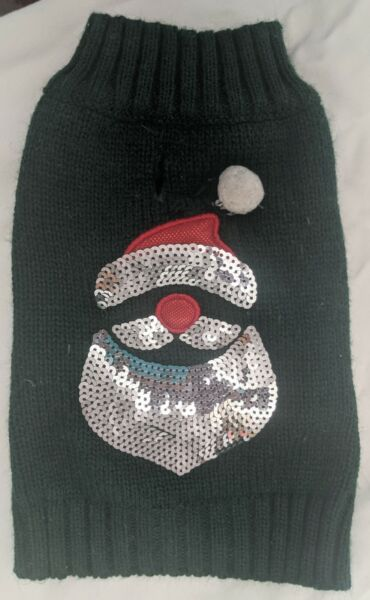 Christmas Dog sweater size x small Santa Sequins pre owned used once A03 $4.00