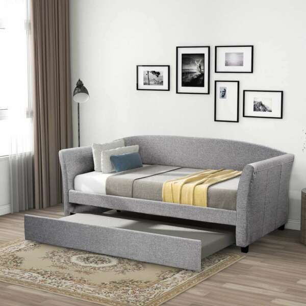 Twin Size Upholstered Daybed with Trundle Day Beds Bed Frame Home Furniture US $453.14