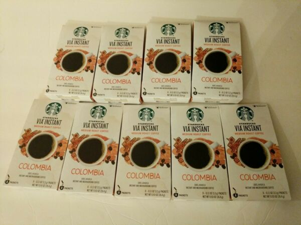 Starbucks VIA Colombia Instant Coffee 9 Boxes 72pkts Best By 6 2021