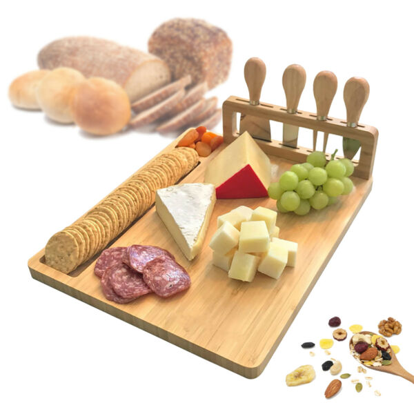 Bamboo Cheese Server Board With Cutting Tool Set Smooth Natural Wooden for Appet