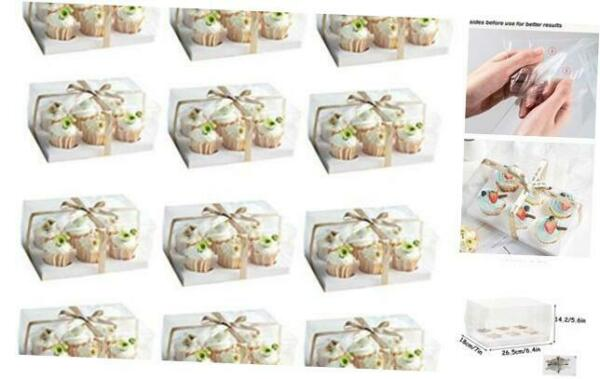 12 Set Clear Cupcake Boxes Cupcake Containers Plastic Disposable Cupcake Boxes