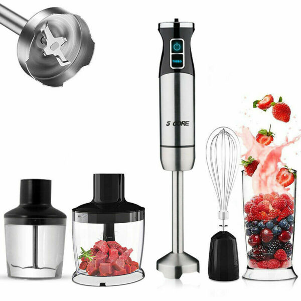 Immersion Blender Handheld Electric Mixer Stainless Steel With Titanium Blades $44.99
