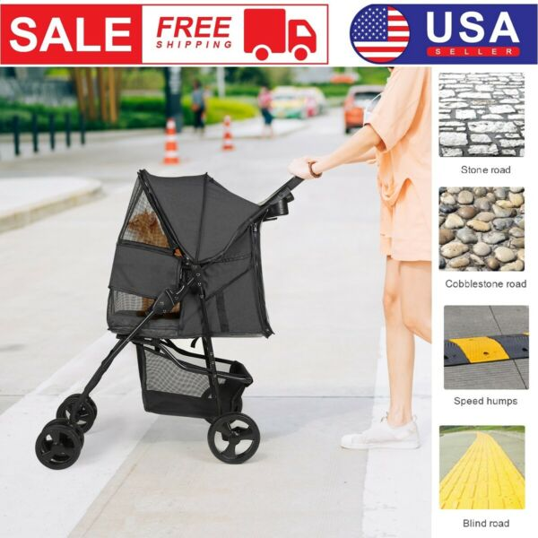 Durable Foldable Dog Stroller Pet Travel Carriage for Pets with Carrier Cart $109.99