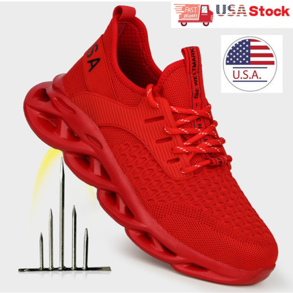 Mens Red Work Boots Steel Toe Safety Shoes Indestructible Sneakers Bulletproof $32.99