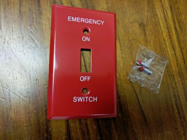 1 pc Red Metal EMERGENCY On Off Wall Plate Cover 1 Gang Toggle Switch $2.99
