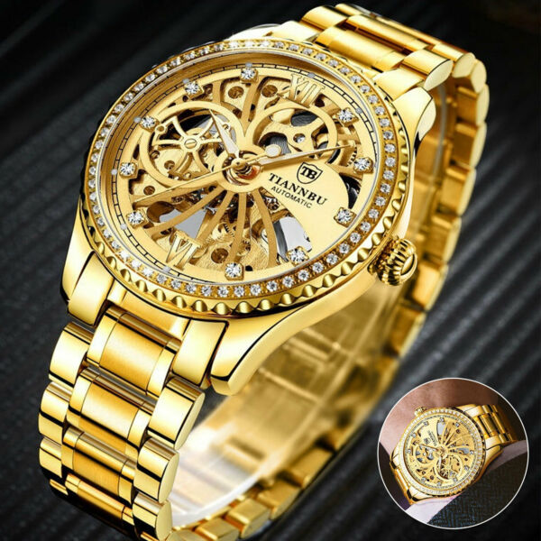 Mens Stainless Steel Gold Tone Skeleton Automatic Mechanical Wrist Watch Luxury $21.48