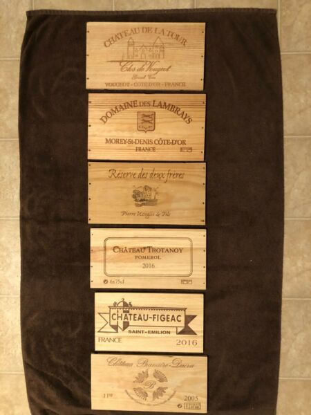 6 Assorted French wooden wine box end panels