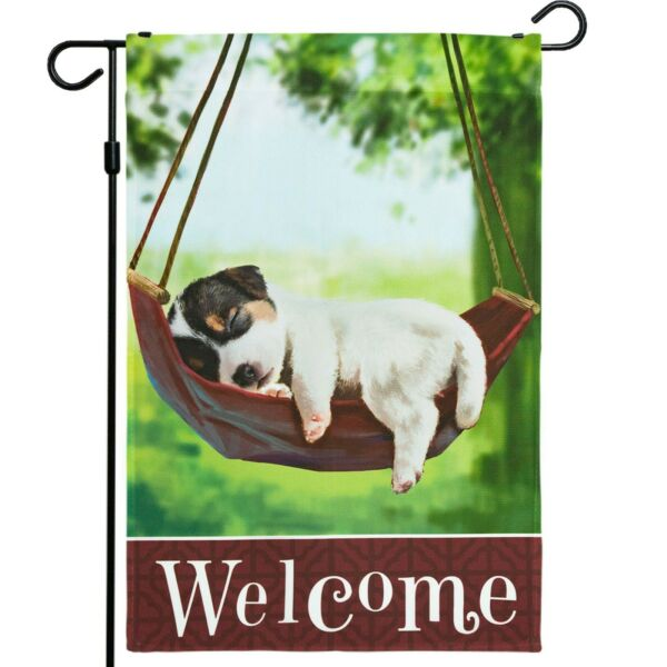 Home Decorative Garden Flag Decorated with Sleeping Puppy Dog Welcome Quote $29.90