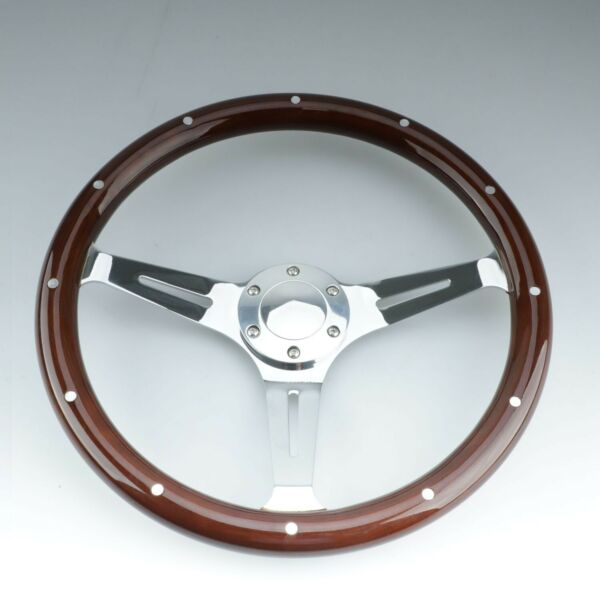15quot; Classic Wood Steering Wheel Riveted Vintage Chorme Spoke 6 Hole for Ford $89.99