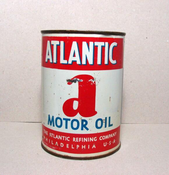 Vintage Atlantic Motor Oil can one quart tin can empty $21.00