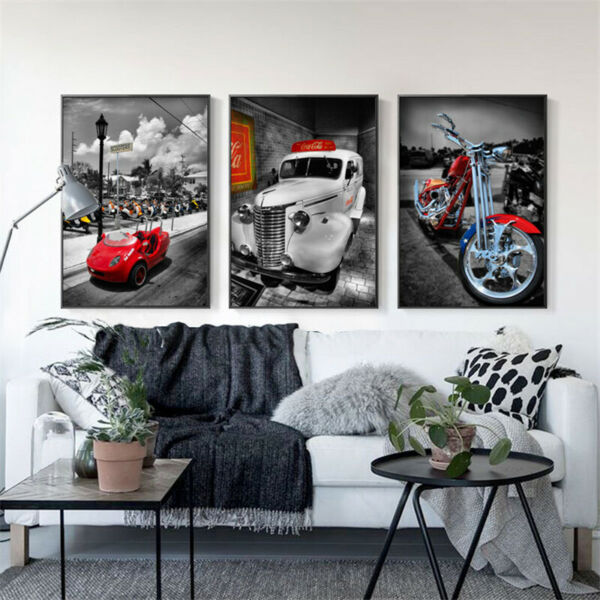 Cool Heavy Bike Modified Motorcycle Canvas Painting Car Posters Cuadros Wall Art $5.29