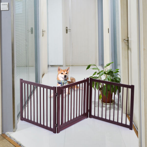 24quot;H Folding Wood Dog Gate Pet Safety Fence Portable Free Standing 3 Panel $61.99