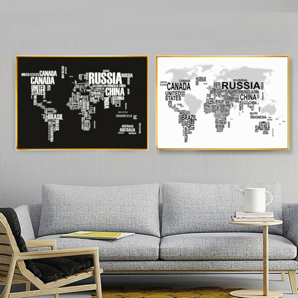 World Map Poster Black White Letter Puzzle Map Silk Canvas Wall Prints Decor 150