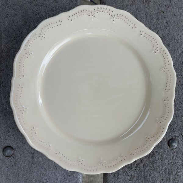 """Lot Of 2 Pier 1 LACEY CREAM 8"""" Salad Plates Portugal Gently Used"""