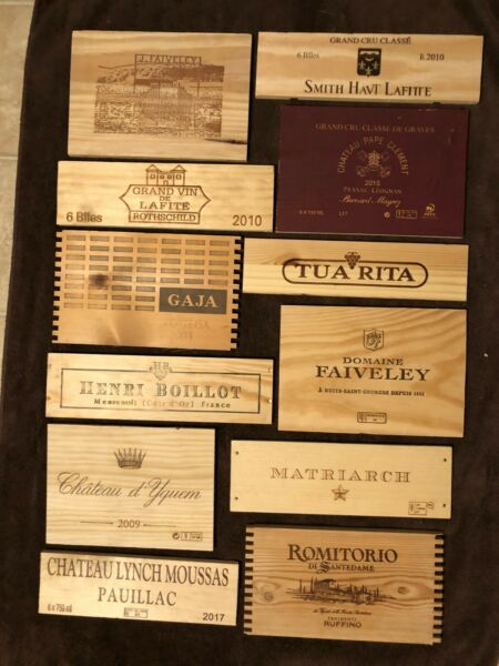 12 Assorted smaller wooden wine box end panels