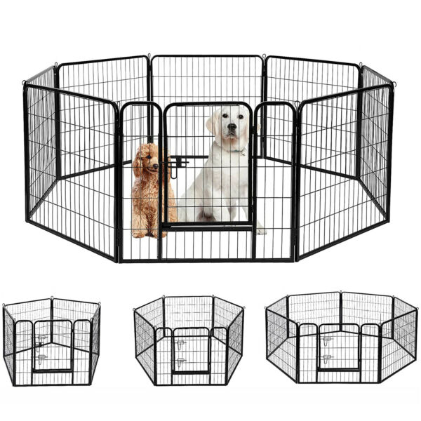 40quot;H Heavy Duty Metal Dog Cat Exercise Fence Playpen Kennel 8 Panel Safe For Pet $104.49