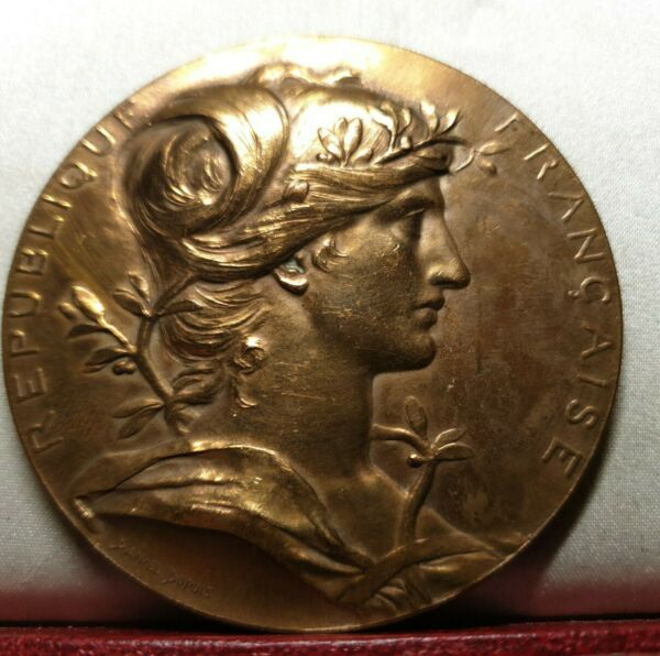 1889 exhibition intl French 68mm marianne art medal bronze by Dupuis