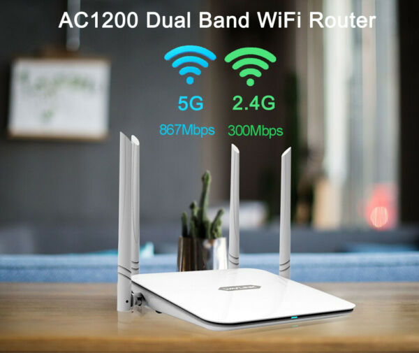 AC1200 Wireless Router Dual Band 2.4G 5G WiFi Gigabit Ports Internet Router