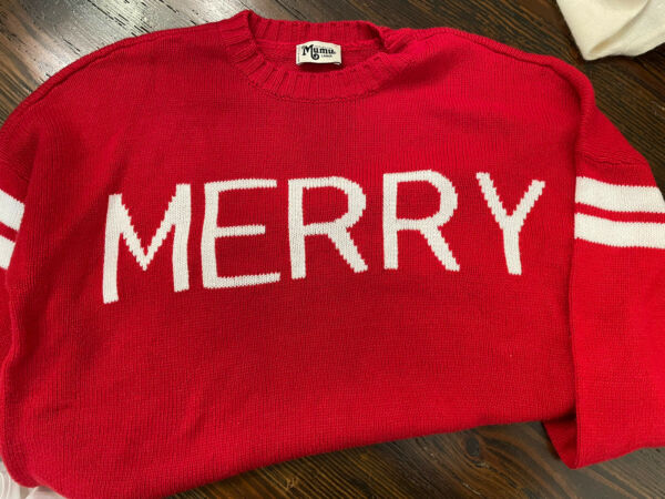 """show me your mumu sweater Varsity red Christmas Large """"Merry"""" $36.00"""