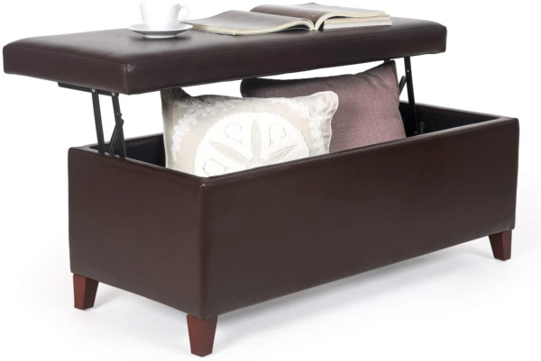 Homebeez Modern Faux Leather Lift Top Coffee Table Storage Ottoman Bench Brown