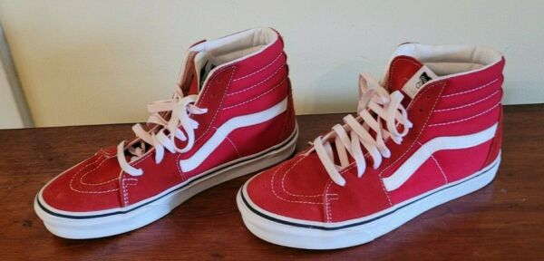 Vans Off Wall SK8 Hi RED Canvas amp; Suede SkateBOARD Shoes UNISEXMENS 7 WOMENS $34.99