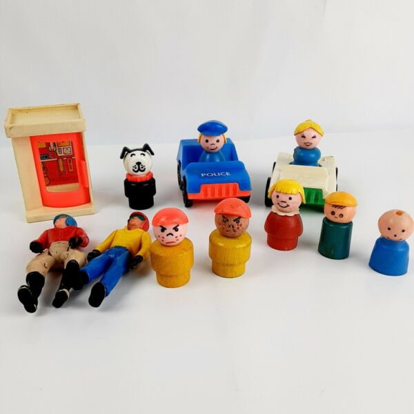 Vtg Lot of 13 Little People Angry Boy Police Woman Dog Cars Phone Booth $18.99
