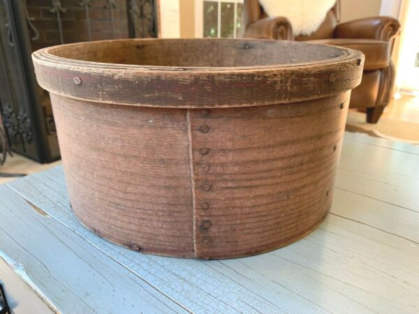 RARE Pink N. M. Glines Red Banded Antique Pantry Box Grain Measure 12quot; Large