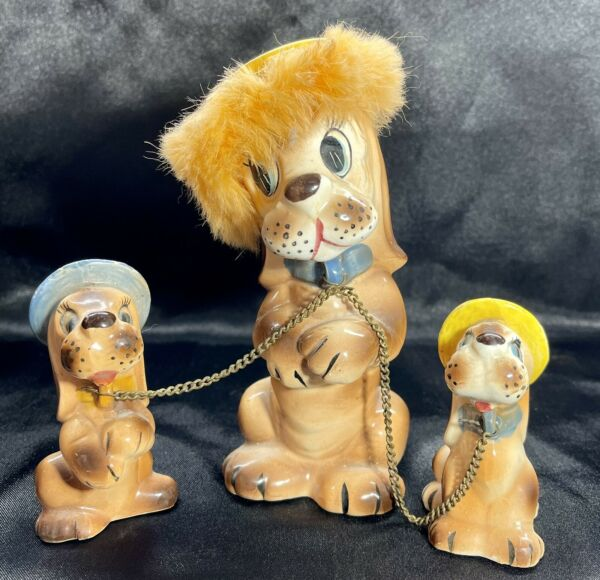 Vintage Porcelain Ceramic Dog With 2 Puppies On Chain $35.00