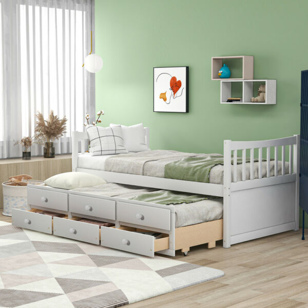 Daybed Day Beds Sleeper with Pull Out Trundle and Storage Drawers Twin Size US $433.19