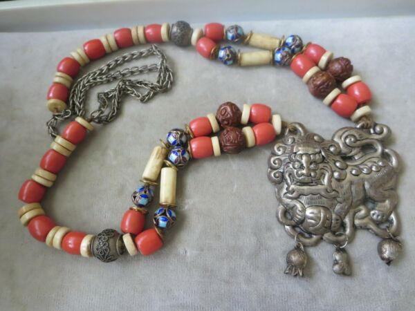 Vintage Unsigned Fu Dog Silver Plate Pendant And Beaded Necklace $125.00
