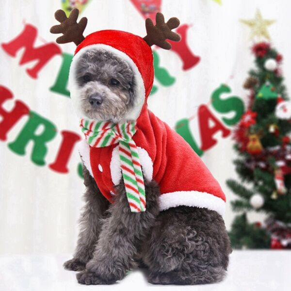 Christmas Dog Puppy Cute Antler Cap Red Hoodie Coat Warm Cotton Costume Apparel $7.98