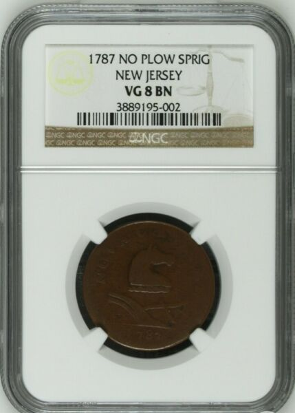 1787 New Jersey Colonial Copper Maris 38 Y Rarity 3 NGC VG8
