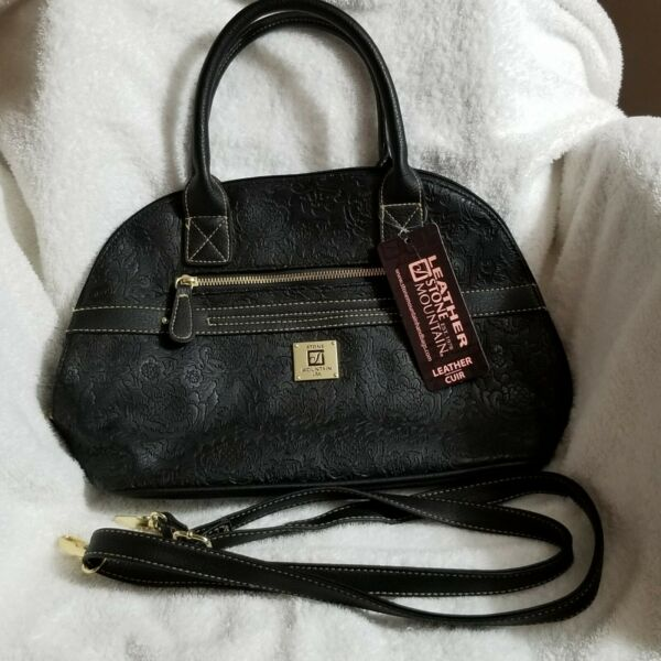 NWT Black Leather Stone Mountain Bag Satchel with 2 Handles amp; removable strap $59.99