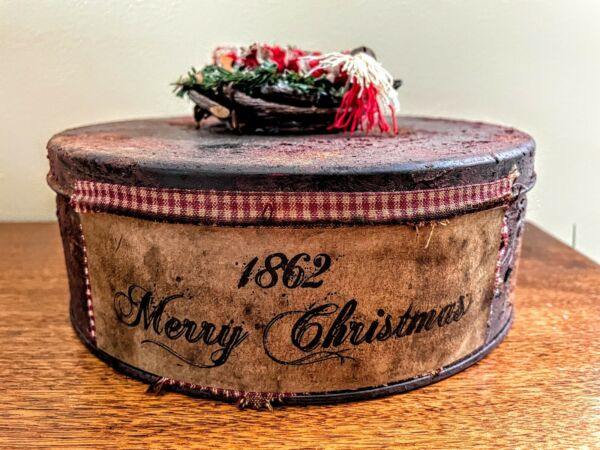 """Primitive Country Handcrafted 1862 Merry Christmas Tin 8"""" Early American look $14.00"""